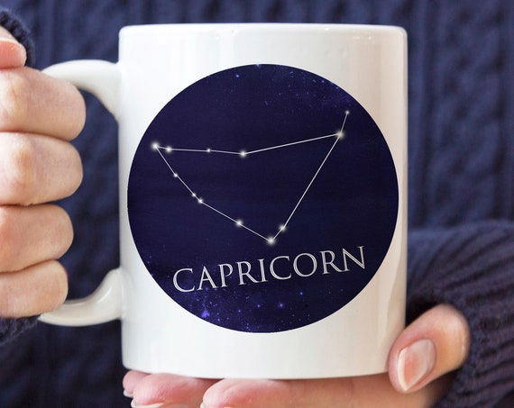 Celestial Capricorn Constellation Coffee Mug | Microwave and Dishwasher Safe | Capricorn Horoscope Ceramic Cup | Coating Made in USA