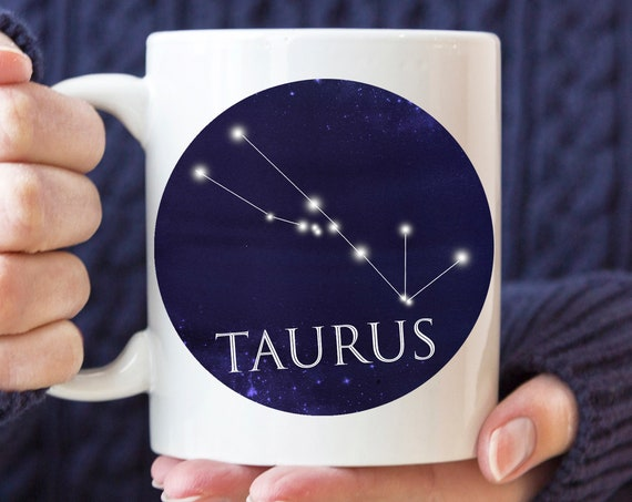 Celestial Taurus Constellation Coffee Mug | Microwave and Dishwasher Safe | Taurus Horoscope Ceramic Cup | Coating Made in USA
