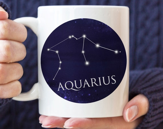 Celestial Aquarius Constellation Coffee Mug | Microwave and Dishwasher Safe | Aquarius Horoscope Ceramic Cup | Coating Made in USA