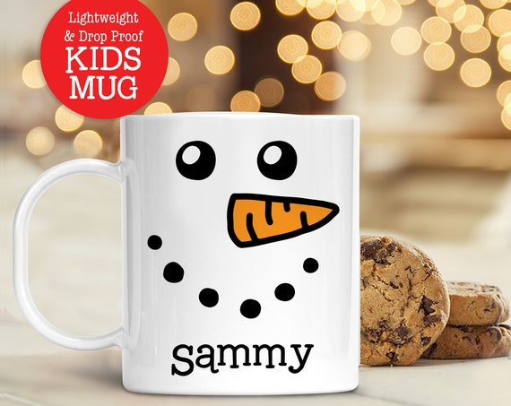 Kids Personalized Snowman Christmas Mug | Dishwasher Safe Lightweight Unbreakable Cup Kids BPA Free Plastic Mug for Toddler Kids Custom Cup