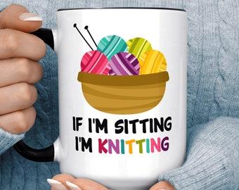Funny Knitting Mug - If I'm Sitting I'm Knitting Microwave Dishwasher Safe Ceramic Cup Great Gift for Knitter