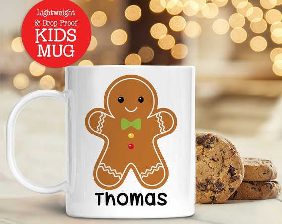 Kids Personalized Name Gingerbread Christmas Cup | Dishwasher Safe Lightweight Unbreakable Cup Kids BPA Free Plastic Mug for Toddler