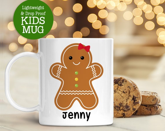 Kids Personalized Gingerbread Christmas Mug | Dishwasher Safe Lightweight Unbreakable Cup Kids BPA Free Plastic Mug for Toddler