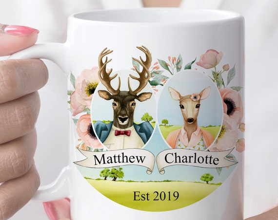 Personalized Deer Couple Coffee Mug Microwave Dishwasher Safe Ceramic Cup Customize with Names and Wedding Date | Makes a great wedding gift