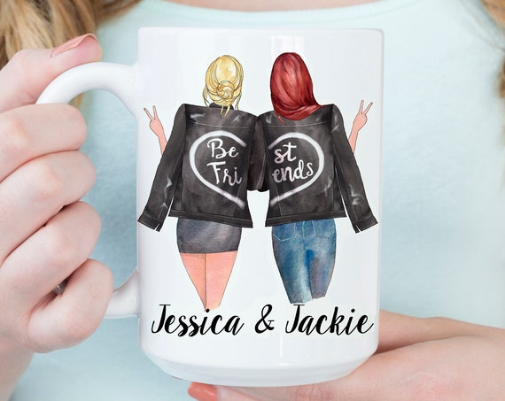 Best Friends Mug Personalized Leather Jacket Girlfriends | Microwave and Dishwasher Safe Ceramic Cup
