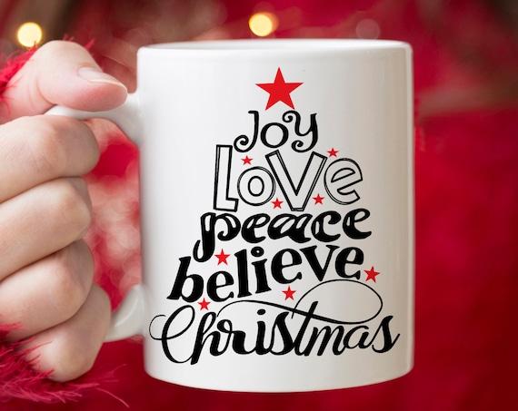 Christmas Coffee Mug | Joy Peace Believe Christmas Tree Star Microwave and Dishwasher Safe  | Holiday Ceramic Coffee Cup