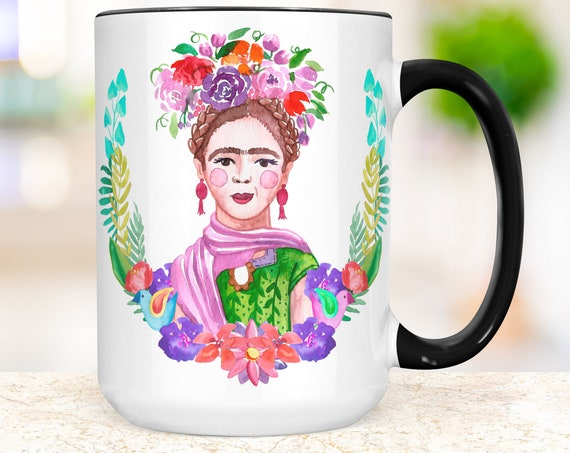 Frida Kahlo Coffee Mug | Floral Watercolor Ceramic Cup | Microwave Dishwasher Safe Cup
