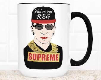The Notorious RBG Supreme Coffee Mug | Ruth Bader Ginsburg Microwave Dishwasher Safe Ceramic Cup
