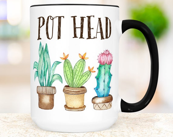 Funny Plant Pot Head Coffee Mug | Microwave and Dishwasher Safe Ceramic Cup | Plants Cup | Colorful Succulent Mug