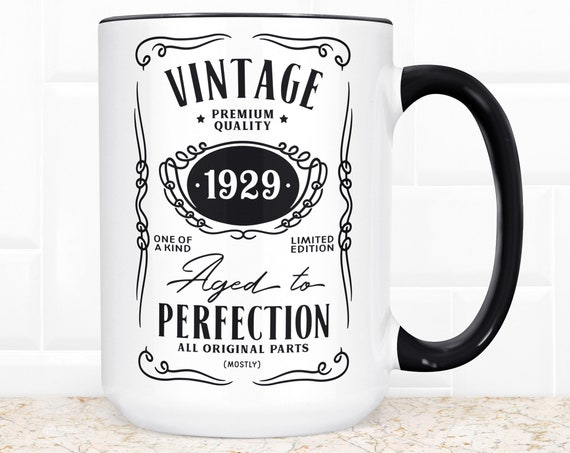 90th Birthday Gift | Funny Coffee Mug | Microwave Dishwasher Safe | 90 Year Old Aged to Perfection Vintage Year 1929 Birthday Present