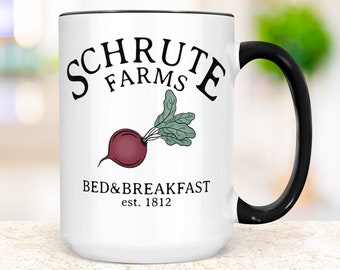 Schrute Farms Coffee Mug | The Office TV Show Funny Schrute Farms Bed and Breakfast Beet Mug | Microwave and Dishwasher Safe Ceramic Cup