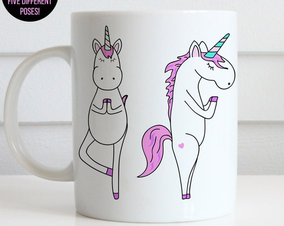 Coffee Mug Unicorn Yoga Poses Coffee Cup