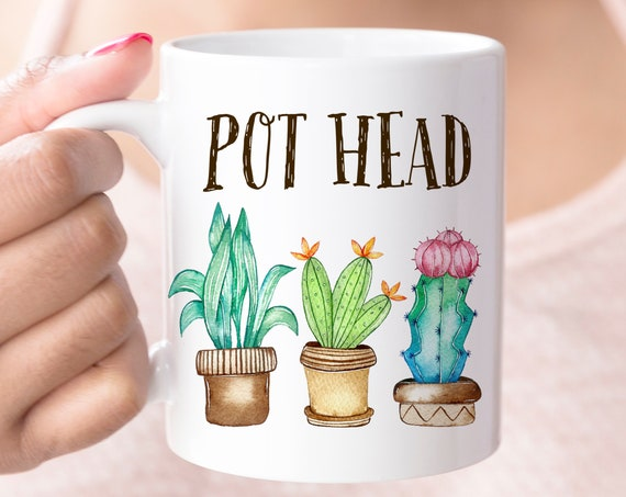 Funny Plant Pot Head Coffee Mug | Microwave and Dishwasher Safe Ceramic Cup | Coating Made in USA | Plants Cup | Colorful Succulent Mug