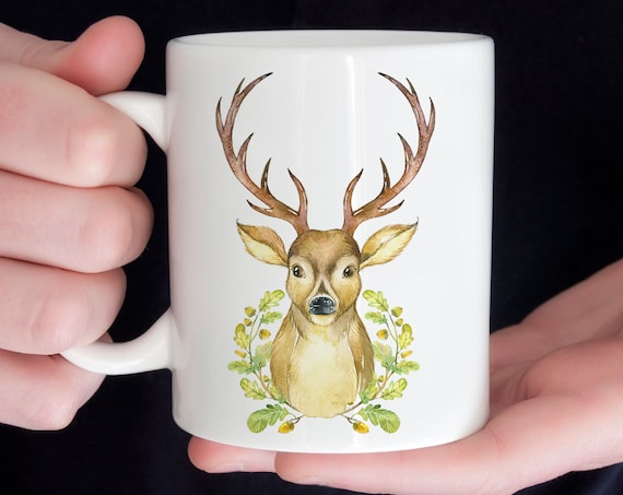 Coffee Mug Deer with Antlers Ceramic Coffee Mug | Microwave and Dishwasher Safe | Coating Made in USA