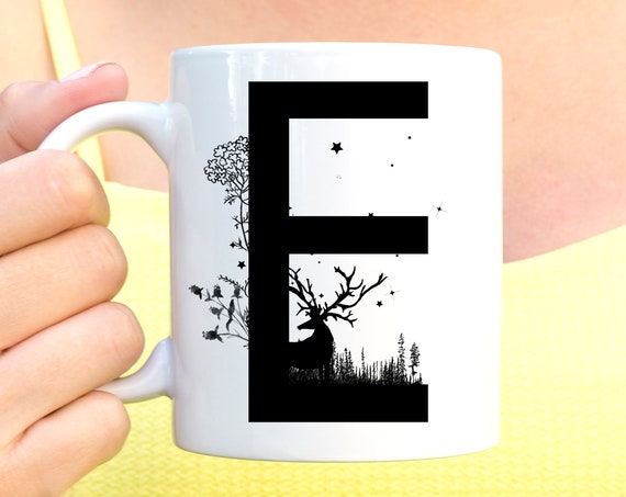 E Initial Monogram Coffee Mug   More Letters Available   Microwave and Dishwasher Safe   Letter Cup   Ceramic Coating Made in USA