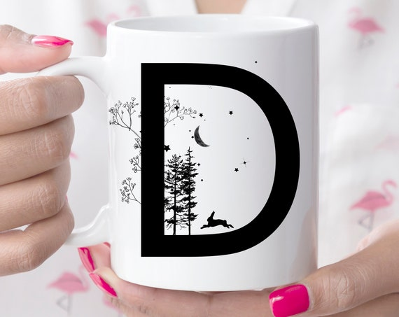D Initial Monogram Coffee Mug | More Letters Available | Microwave and Dishwasher Safe | Letter Cup | Ceramic Coating Made in USA
