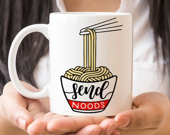 Coffee Mug Send Noods Ceramic Cup | Funny Noodles Mug | Microwave and Dishwasher Safe | Coating Made in the USA | Ramen Cup