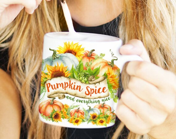 Coffee Mug Pumpkin Spice Halloween Autumn Coffee Cup - Pumpkins and Sunflowers - Fall Coffee Mug