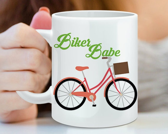 Coffee Mug Biker Babe Bicycle Coffee Mug - Funny Coffee Cup For Her - Gift for Biker