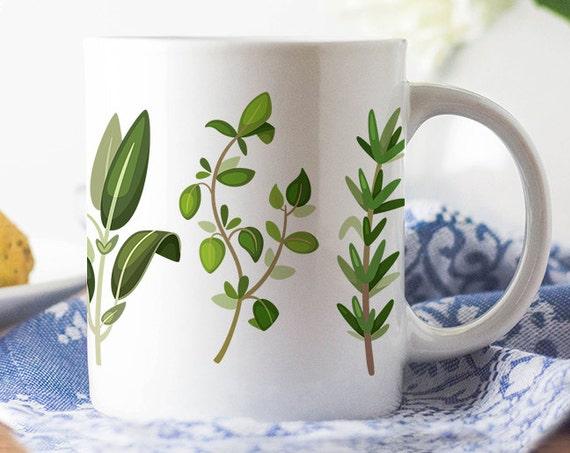 Coffee Mug Herbs Coffee Cup - Great Gift for Chef, Cook or Vegetarian - Fresh Herbs Coffee Mug - Great Chef Gift