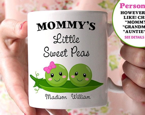 Coffee Mug Mommy's Little Sweet Peas - Customized Coffee Cup - Personalized with Kids Names - Grandma's Little Sweet Peas