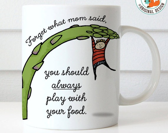 Coffee Mug Play With Your Food Asparagus Healthy Eating Coffee Cup - Great Gift for Vegan or Vegetarian - Funny Mug