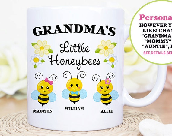 Coffee Mug Grandma's Little Honeybees - Customized Coffee Cup - Personalized with Kids Names - Mommy's Little Honeybees