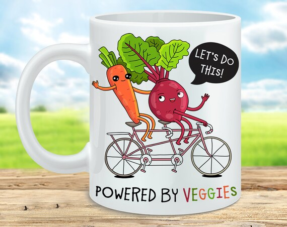 Coffee Mug Powered by Veggies Coffee Cup - Veggie Power Great Funny Mug Gift for Vegan or Vegetarian
