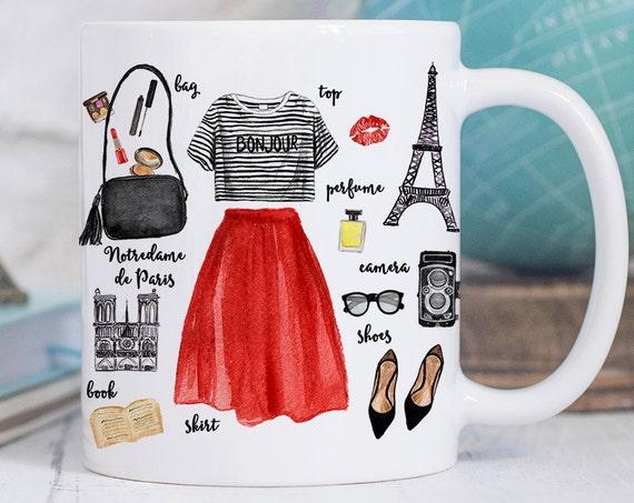 Coffee Mug Paris Fashion Coffee Cup - Eiffel Tower Mug - Paris Cup - France Mug