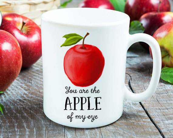 Coffee Mug Apple Coffee Cup - Great Gift for Vegan or Vegetarian - Funny Mug - Apple of Me Eye Mug