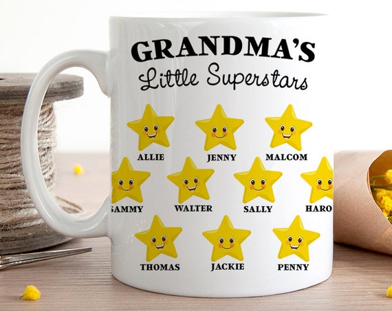 Coffee Mug Grandma's Little Superstars - Customized Coffee Cup - Personalized with Kids Names - Mommy's Little Superstars