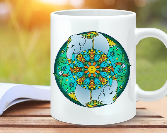 Coffee Mug Elephant Mandala Design Coffee Cup - Elephant Coffee Mug