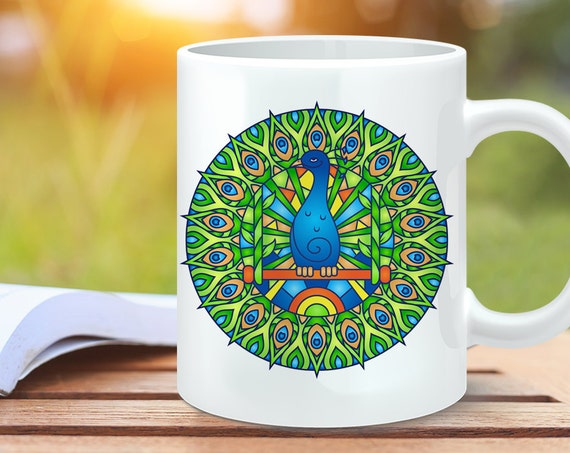 Coffee Mug Peacock Mandala Design Coffee Cup - Peacock Coffee Mug