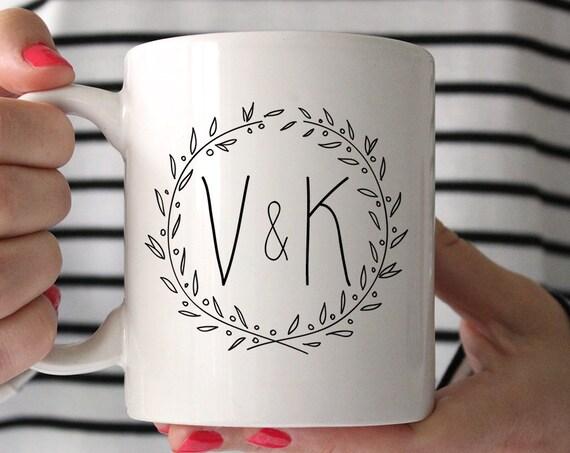 Coffee Mug Monogram Initials Wreath Coffee Cup - Couple Initials Coffee Mug - Valentine Gift Mug