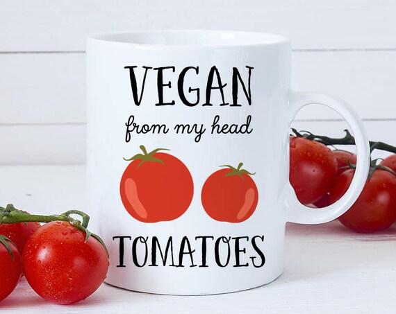 Coffee Mug Vegan from my Head Tomatoes Coffee Cup - Great Gift for Vegan or Vegetarian - Funny Mug