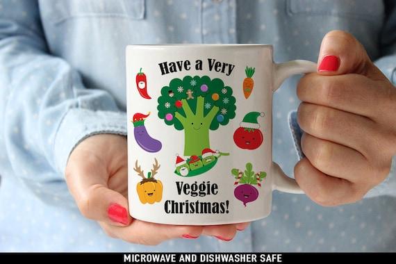 Coffee Mug Have A Very Veggie Christmas Coffee or Tea Mug - Great Holiday Gift for Vegan or Vegetarian - Funny Mug