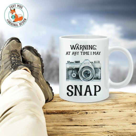 Coffee Mug Gift for Photographer - Warning At Any Time I May Snap Funny Camera Coffee Cup - Gift Under 25 Dollars Photographer Travel Mug