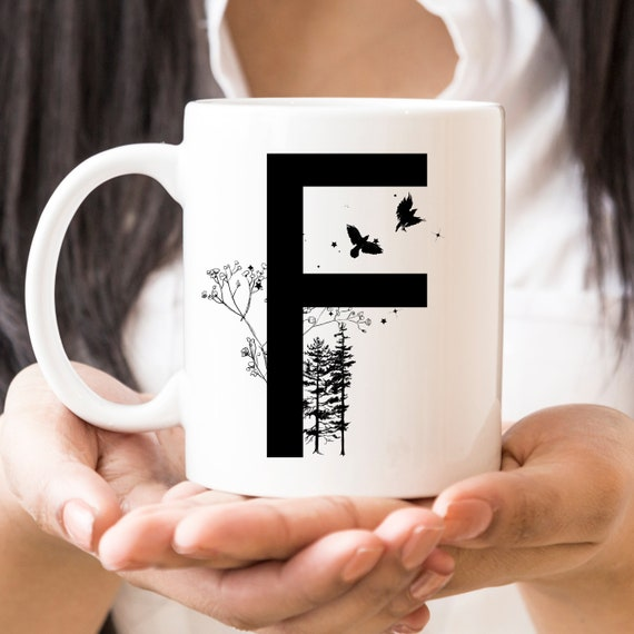 F Initial Monogram Coffee Mug   More Letters Available   Microwave and Dishwasher Safe   Letter Cup   Ceramic Coating Made in USA