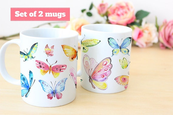 Coffee Mug Set of Watercolor Butterfly Coffee Mugs