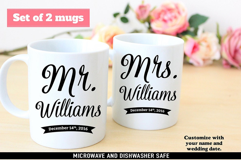 Set Of Mr And Mrs Name Wedding Coffee Mugs Customize With Your