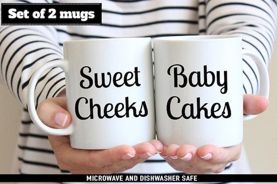 Coffee Mug Set of Sweet Cheeks and Baby Cakes Coffee Cup
