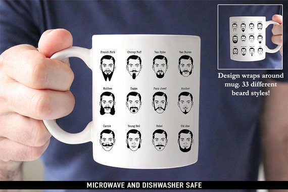 Coffee Mug Beard Styles Coffee Mug - 33 Different Beard Types - Great Gift for Beard Lovers