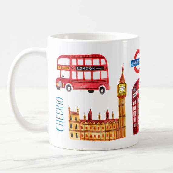 Coffee Mug London England Coffee Cup - London Mug - Big Ben - Red Phone Booth - Red London Bus