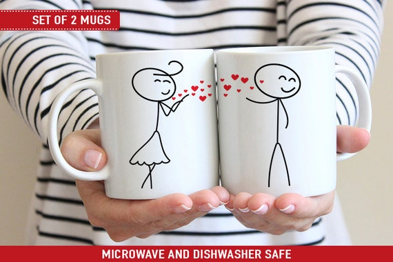 Coffee Mug Cute Stick Figure Couple Blowing Hearts Kisses Mug Set - Couple Cup Set