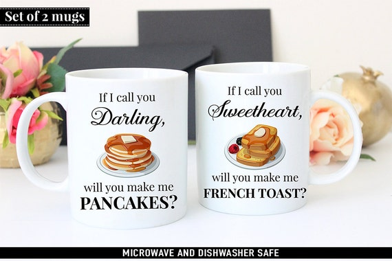 Coffee Mug Set of Funny Breakfast Coffee Mugs - Cute Wedding Gift