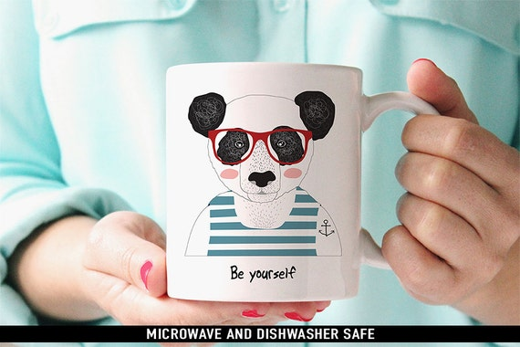 Coffee Mug Be Yourself Panda Bear with Glasses and Tattoo Coffee Mug