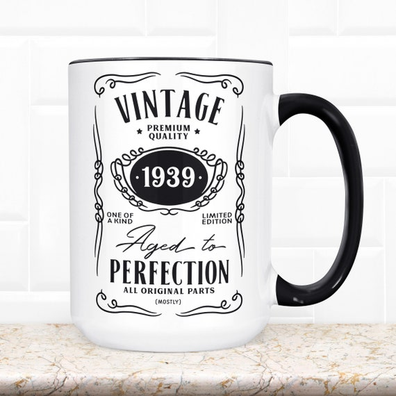 80th Birthday Gift | Funny Coffee Mug | Microwave Dishwasher Safe | 80 Year Old Aged to Perfection Vintage Year 1949 Birthday Present