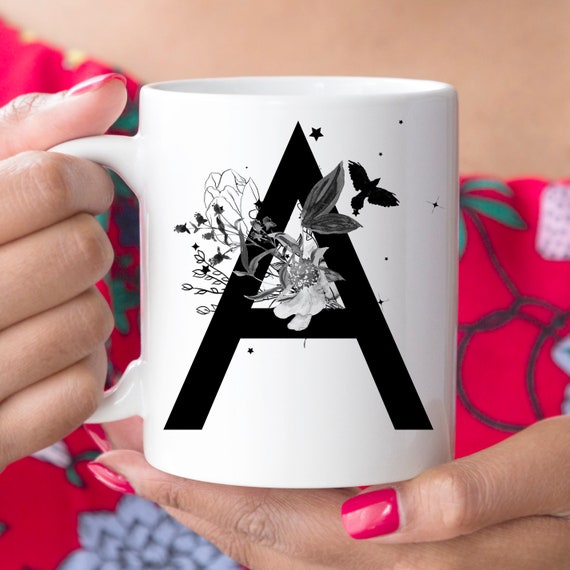 A Initial Monogram Coffee Mug | More Letters Available | Microwave and Dishwasher Safe | Letter Cup | Ceramic Coating Made in USA