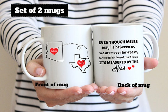 Coffee Mug Best Friends Long Distance State to State with Name and Hearts Coffee Mug