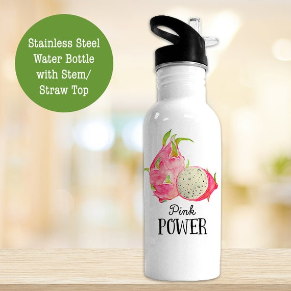 Stainless Steel Water Bottle - Dragonfruit Pink Power - Funny Fruit and Veggie - BPA Free Eco Friendly Water Bottle